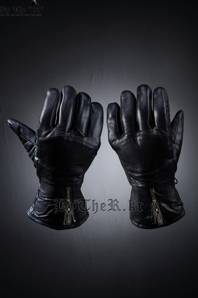Golden Zipper Leather Gloves