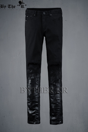 ByTheR Custom Under Black Painting Knife Destroyed Jeans