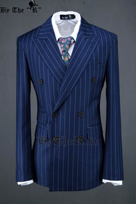 Pinstripe Navy Blue Slim Fit Double Breasted Jacket
