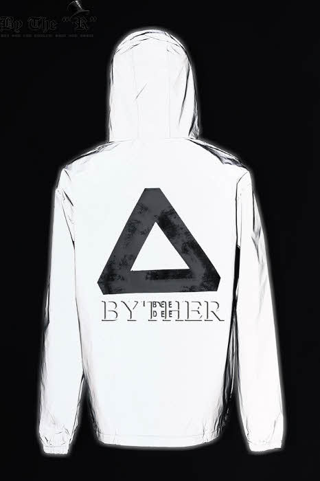 Embroidered Triangle Metalic Color Windbreaker Hoodie Jacket