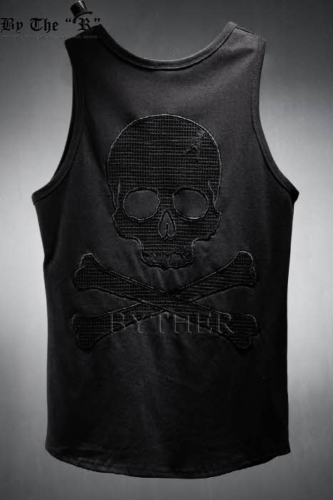 ByTheR Skull See Through Cotton Sleeveless Tank Top