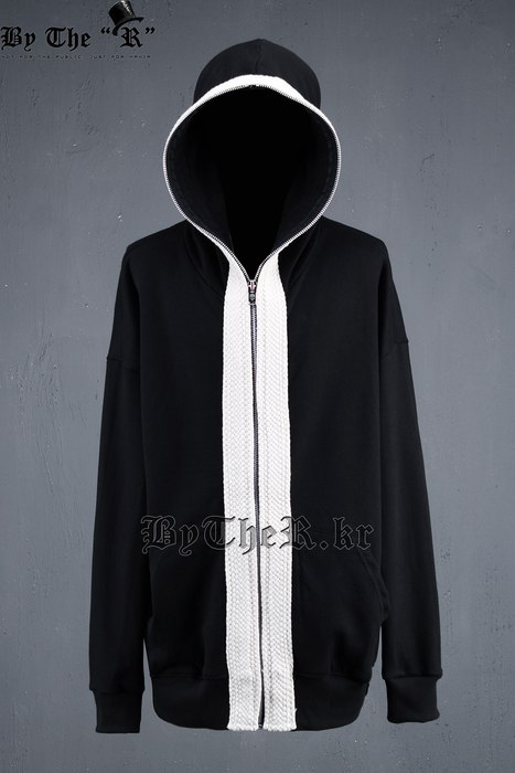 ByTheR Flat Rope Boxy Fit Full Zip Hoodie