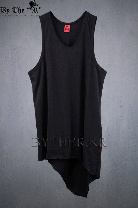 ByTheR Long Layered Back Unbalanced Hem Line Loose Tank Top