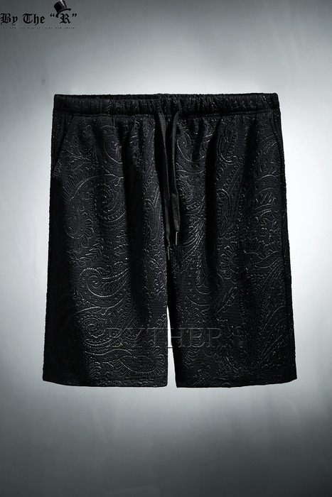 Paisley Embossed Pattern Custom Detail Loose Fit Shorts