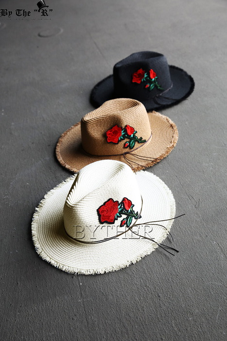 Rose Patch Straw Fedora