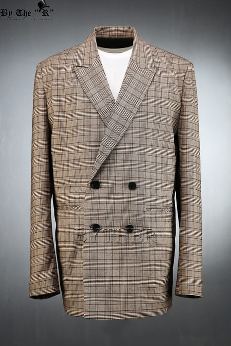 Modern Brown Check Double Jacket