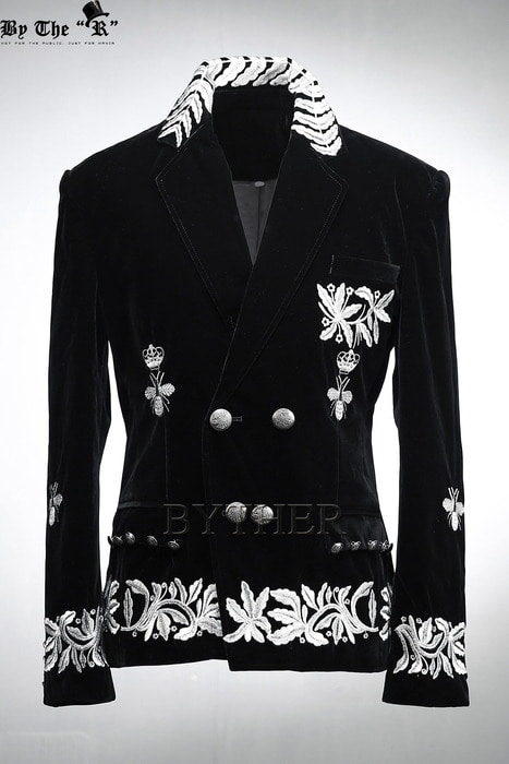 Embroidery Velvet Double Blazer