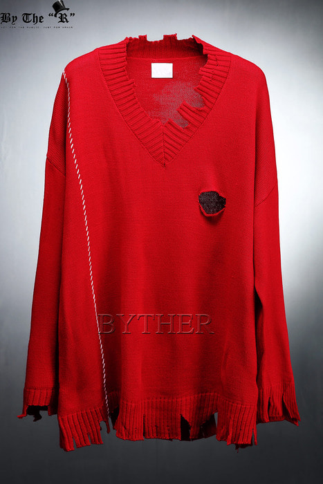 Hard Damaged Loose Fit V-neck Knit Sweatshirts