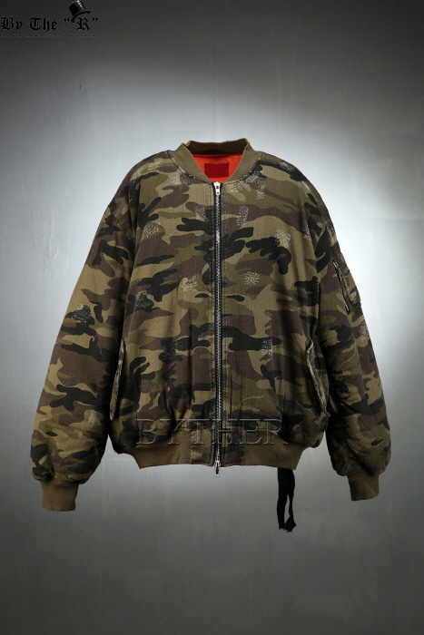 Damaged Camouflage Padding Pilot Jacket