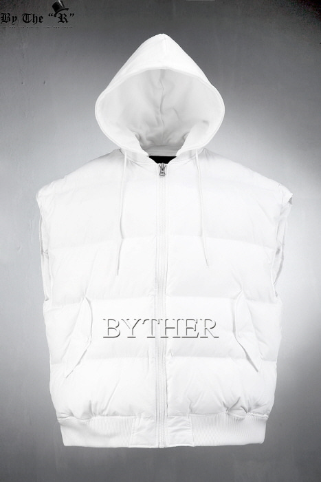 Hood Attached Over-sized Padding Vest