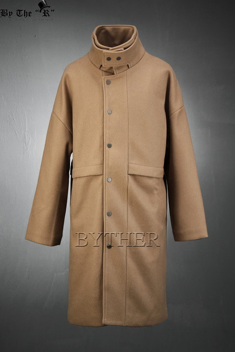 Snap Button Layered Mandarin Collar Coat