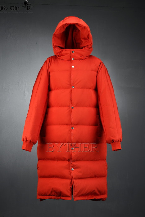 Side Slit  Reversible Duck-down Padded Jacket