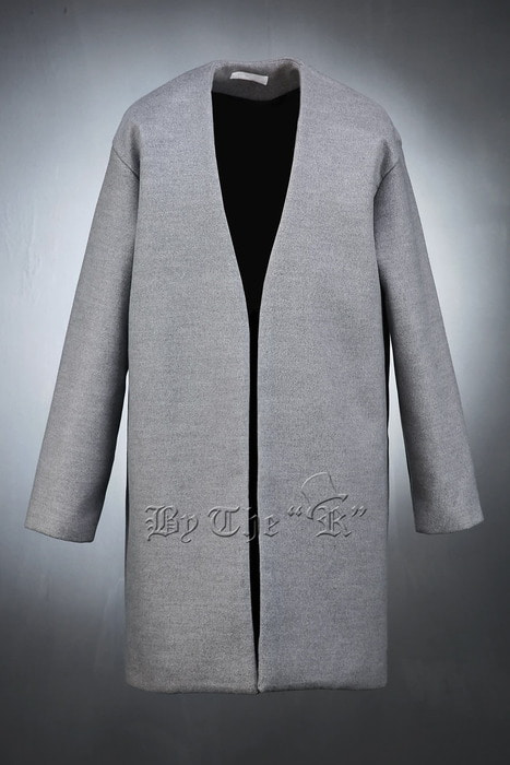 Collarless Woolen Open Coat