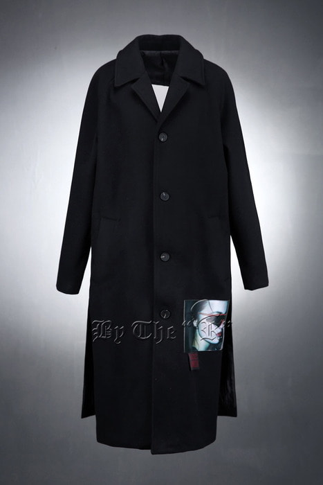 Printed Leather Patched Black Woolen Coat