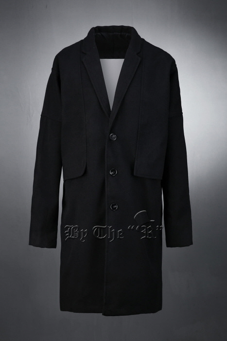 Black Loose-fit Backcut Overcoat