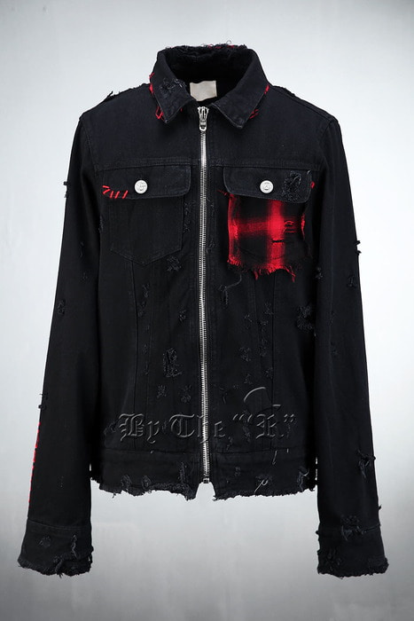 Grunge Detail Black Denim Jacket