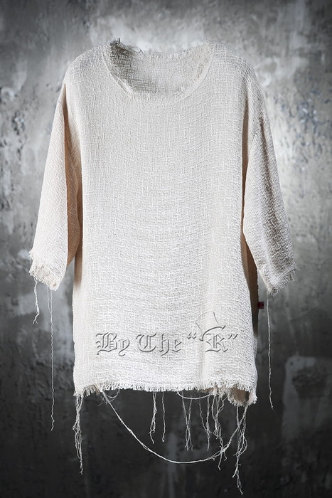 ByTheR Bold Gauze Made Boxy Loose Fit Line T-Shirt