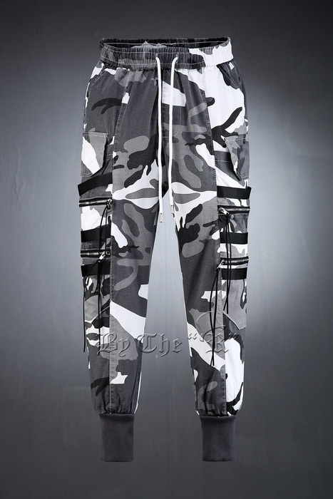 Double Zipper Camo Jogger Pants