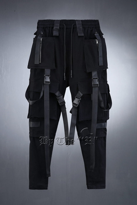 Techwear Back Pockets Webbing Pants