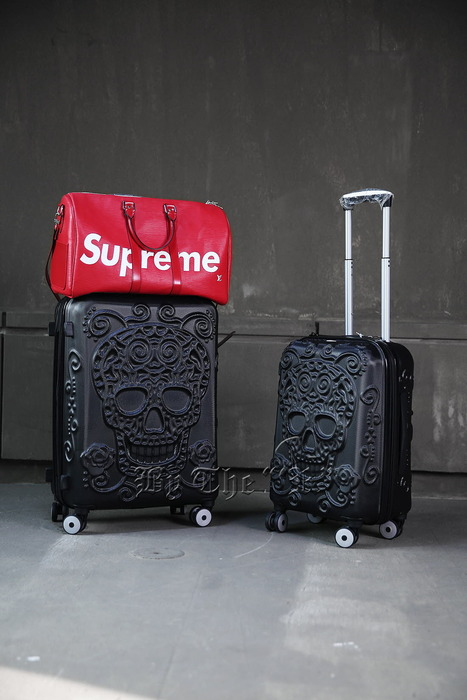 Sugar Skull Pattern Black Hard Carrier Suitcase