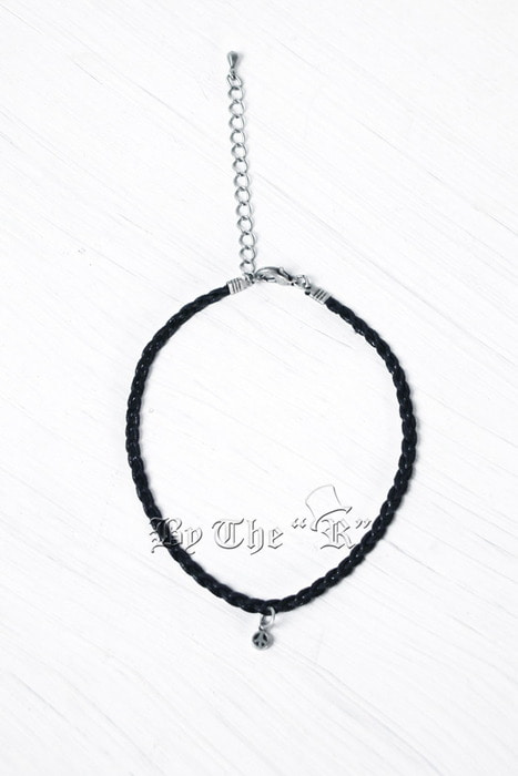 Peace Pandent Black String Anklet