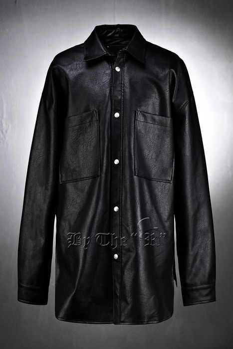 Side Slit Loose Leather Shirts-Jacket