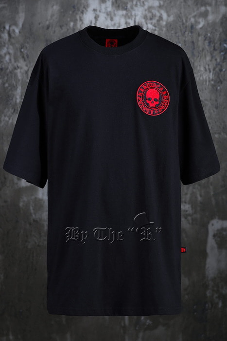 ByTheR Red Skull Embroidery Loose T-shirts