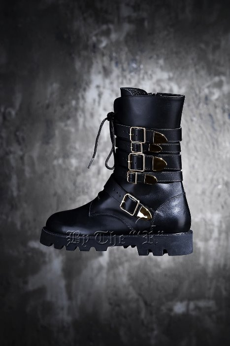 FIve Belt Golden Buckle Combat Boots