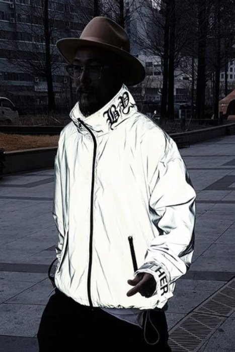 ByTheR Lettering Embroidery Scotch Reflective Windbreaker