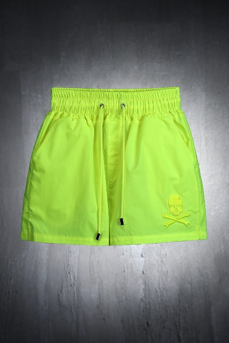 ByTheR Skull Embroidery Neon Beach Shorts