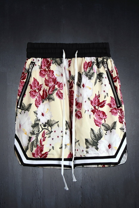 Floral Pattern Zipper Pockets Shorts
