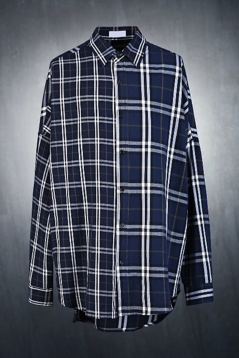Nova Check Mix Unbalanced Loose Shirt