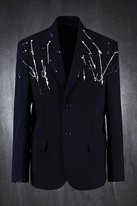 White Paint Drip Two-Button Jacket