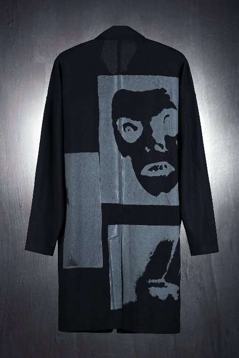 Face Printed Linen Mac coat