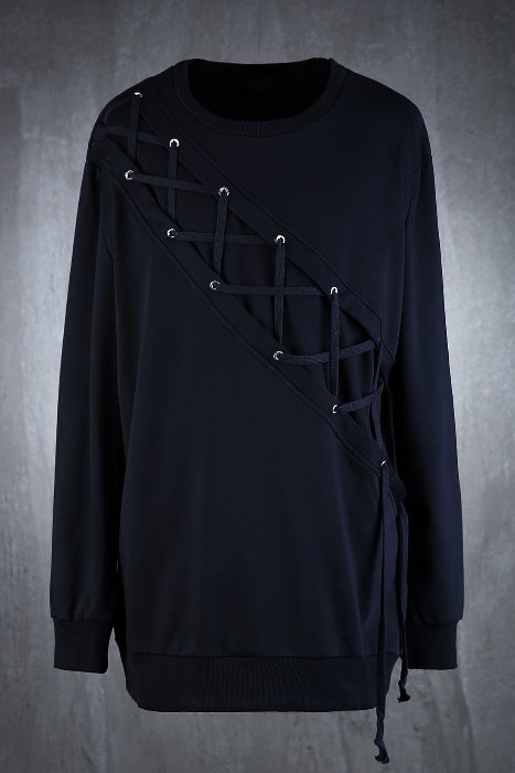 Front Diagonal String Sweatshirt
