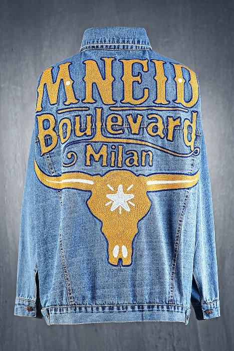 Bull Lettering Embroidery Loose Fit Jean Jacket