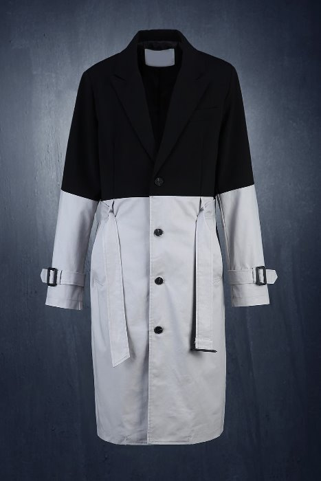 Two-tone Color Single Trench Coat