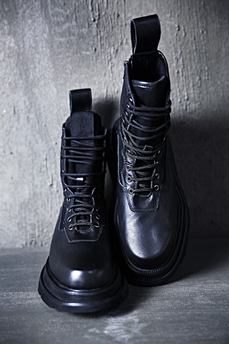 Leather Mix Double Chunky Outsole Combat Boots