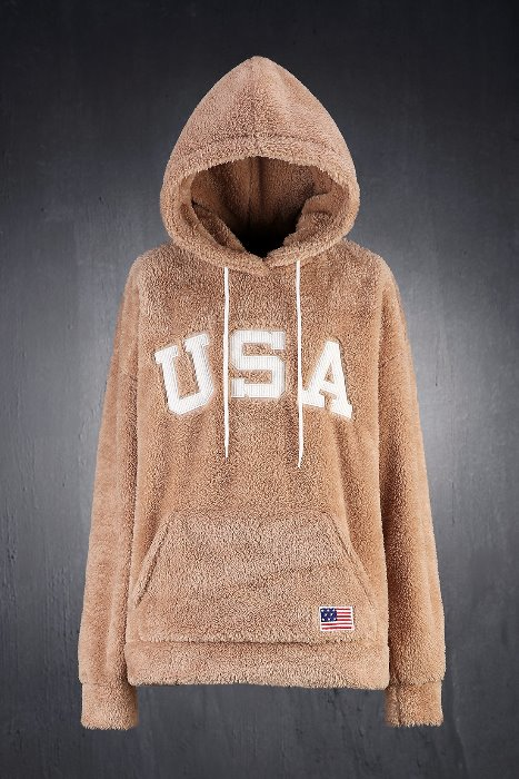 USA Corduroy Patch Fleece Hoodie
