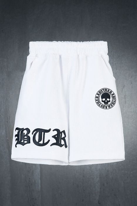 ByTheR Kids Embossed Logo Printing Shorts White