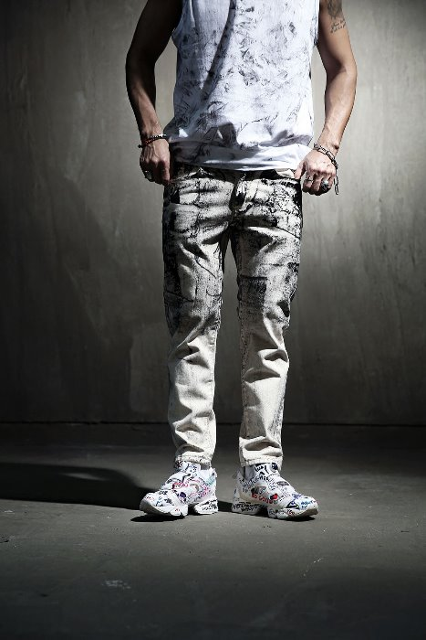 ByTheR Custom Rough Painting Beige Skinny Jeans