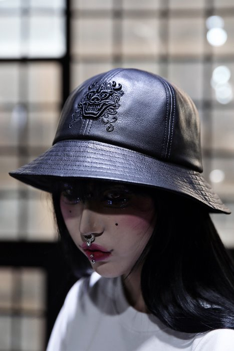 Mukha embroidered leather bucket hat
