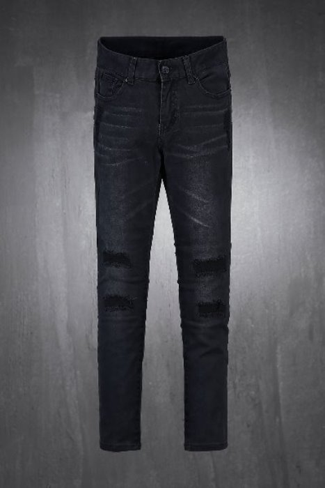 Black and Blue Damage Denim Jeans