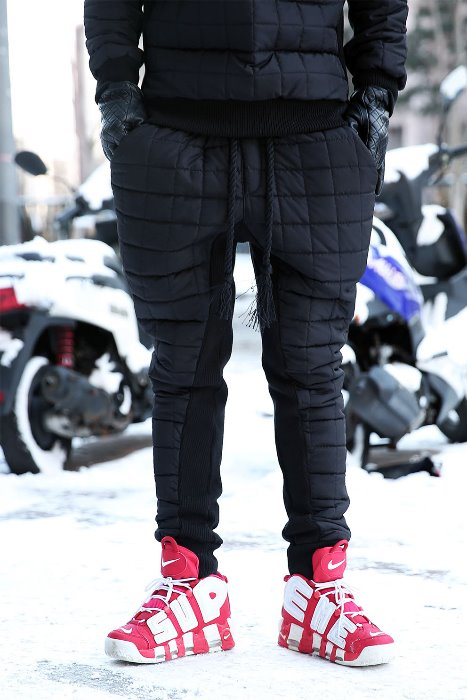 ByTheR Qualting Padded Jogger Pants Black