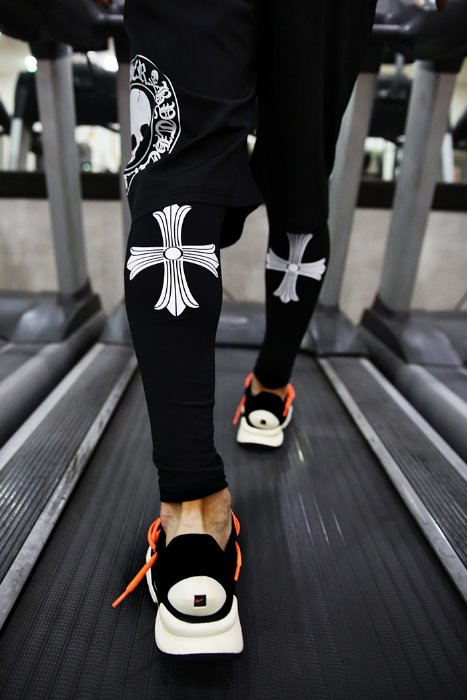 ByTheR Back Cross Print Leggings Pants