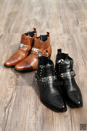 Western Style Strap Detail Faux Leather Made Classy Dress Boots