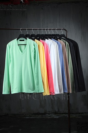 ByTheR Basic Casual Style Single V-Neck Long Sleeve T-Shirt