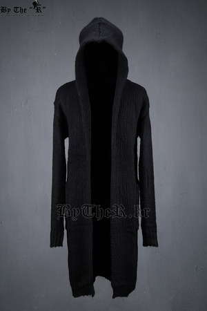 ByTheR Fascinating Black Long Hooded Knit Cardigan