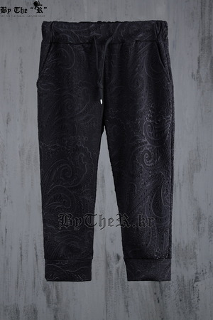 Paisley Embossed Pattern Custom Shin Length Baggy Pants
