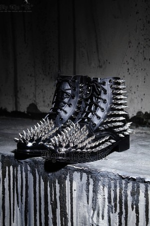 ByTheR All Over Gothic Fierce Metal Studded Real Leather Boots